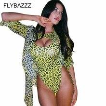 Sexy One Piece Swimsuit Leopard Cover Up Female 2019 Thong Large Size Monokini Hollow Push Swimwear Women Bandage 2 Set