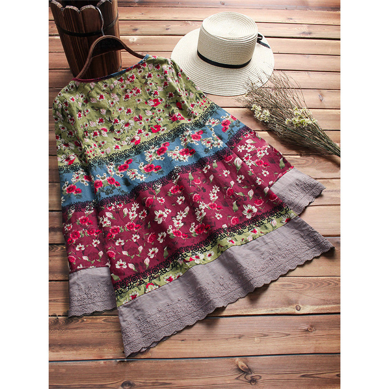 Fashion Women's Casual Loose Long Sleeve Shirts Boho Blouse V-Neck Floral Print Autumn Ladies Clothes