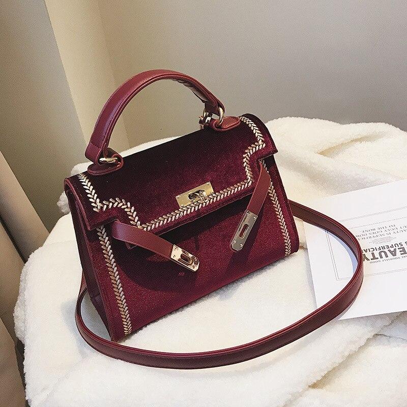 Women Handbag Shoulder Bag Designer Lock Famous Velvet Luxur