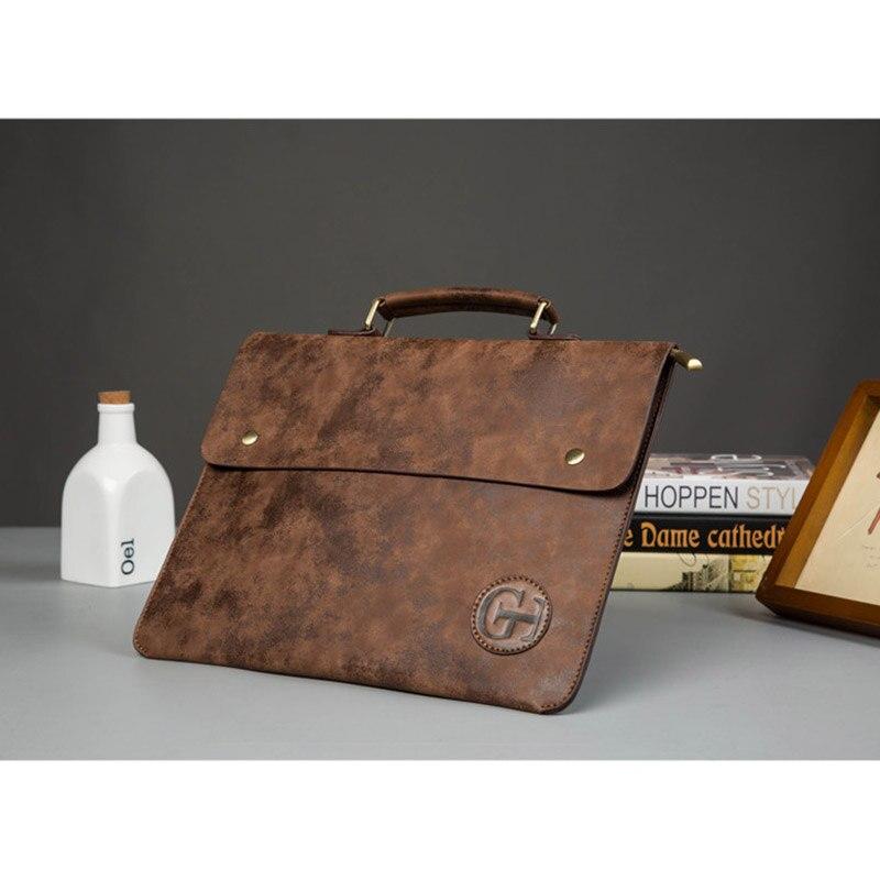 Image 4 - Vintage PU Leather Men Handbag Leisure Mens Bag Business Messenger Bags Portable Briefcase Laptop Package Slim Handbags Malebriefcase businessbusiness briefcasebusiness messenger bag -