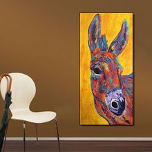 Print on Oil-Painting Poster Canvas No-Frame Home-Decor Donkey AAVV for Office Arts Big-Eyes