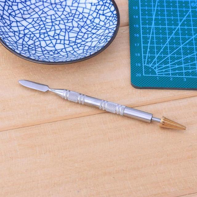 DIY Dual Head Brass Head Leather Edge Oil Gluing Dye Pen Applicator Speedy Paint Roller Tool for Leather Craft Tools Double Side