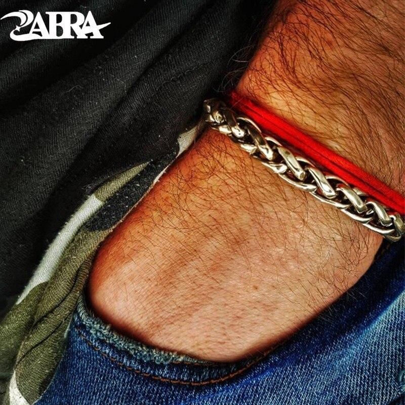 ZABRA 925 Bracelet en argent Sterling pour hommes Vintage lignes de blé bijoux faits à la main Biker homme cadeau chaîne lien Bracelets bijoux homme