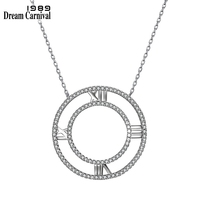 DreamCarnival 1989 New Arrival Sterling Silver Real 925 Necklace for Women Roman Letters Pendant Chic Fashion Wholesale SZ03506R