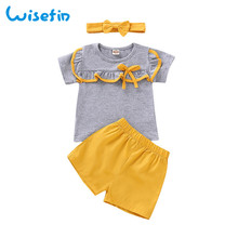 лучшая цена Wisefin Newborn Girl Clothing Set 3 Piece Gray Yellow Clothes For Baby Girl Short Sleeve Summer Infant Girl Outfit With Headband