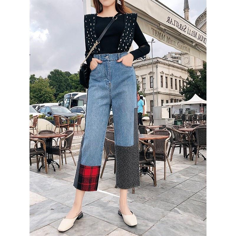 Pierna Vaqueros Otoño Color Vintage Novio Alta Mujer Correa Jeans De Denim Multiple Contraste Cintura qgFwFECA