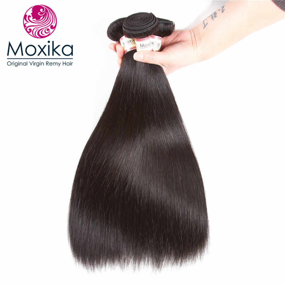 Moxika Peruvian Straight Human Hair One Bundles 8-26Inch Remy Natural Black can be dyed Buy More Than 3pcs