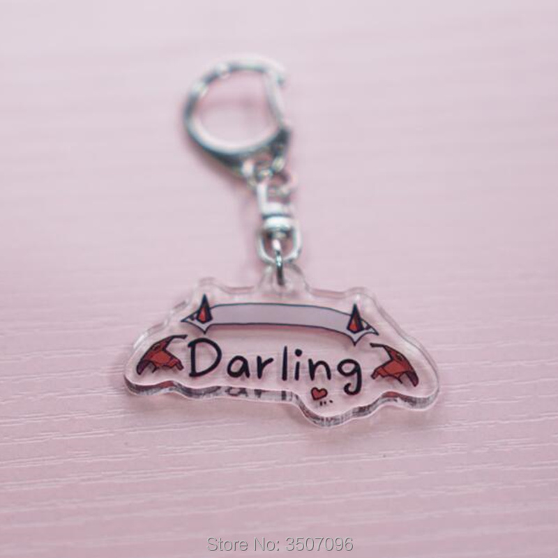 Anime DARLING in the FRANXX Keychain Acrylic Transparent Darling Letter Print Keychains Backpack Pendant Accessories For Unisex