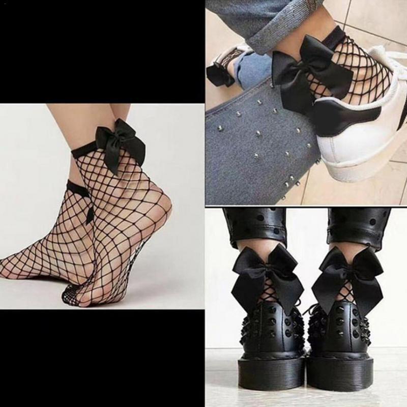 Fashion Women Bowknot Big Fishnet Ankle High Stockings Mesh Lace Fish Net Women Accessories