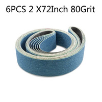 6pcs 2x72 Abrasive Band Polishing Sanding Belt for Belt Sander Grinder Drill for Grinding Metal & very hard wood 80 Gris