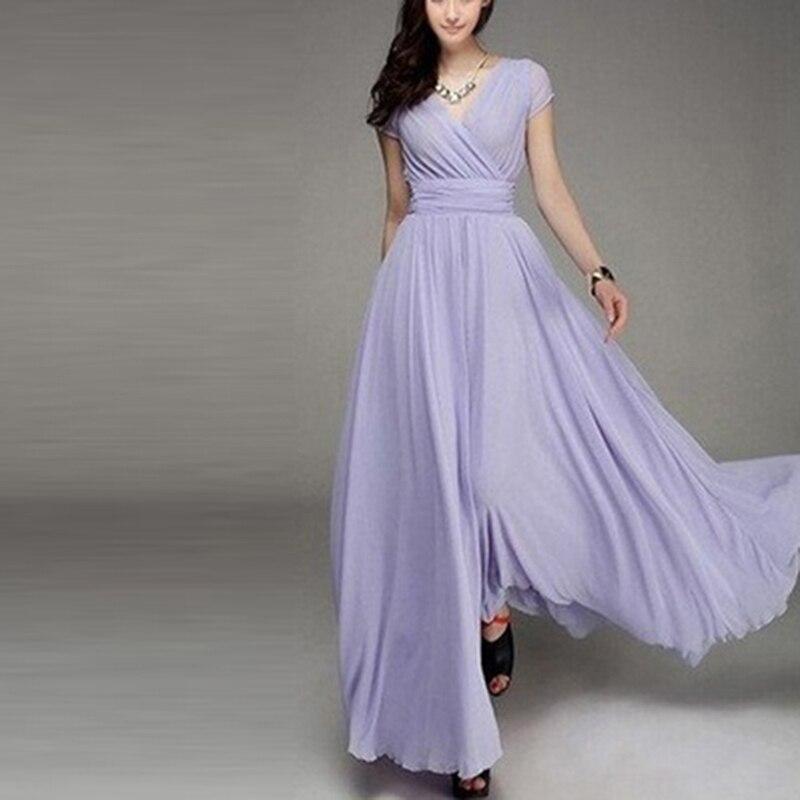 Hengsong 2018 New Women Maxi Dress Women Solid Color Boho Long Dress Party Bridesmaids Infinity Robe Longue Femme 802482 5