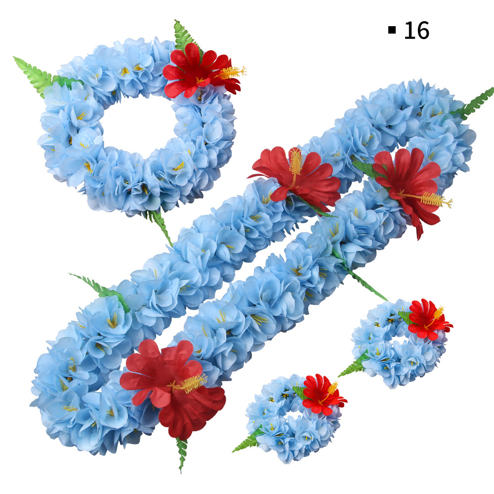 Tropical Luau Party Supplies of Elastic Flowers Necklaces Birthday Party Favors 48 Packs Hawaiian Leis Beach Party Decorations Tropical Hawaiian Decorations Headbands and Wristbands