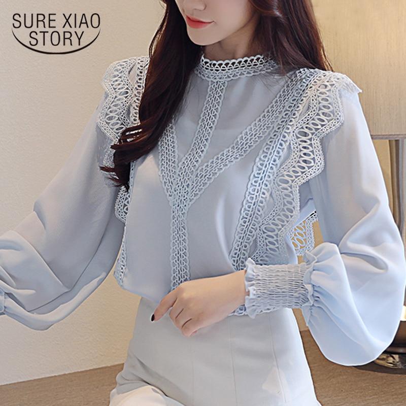 Blusas mujer de moda 2018 branco laço oco chiffon blusa camisa de manga longa das mulheres tops e blusas roupas femininas 1448 45