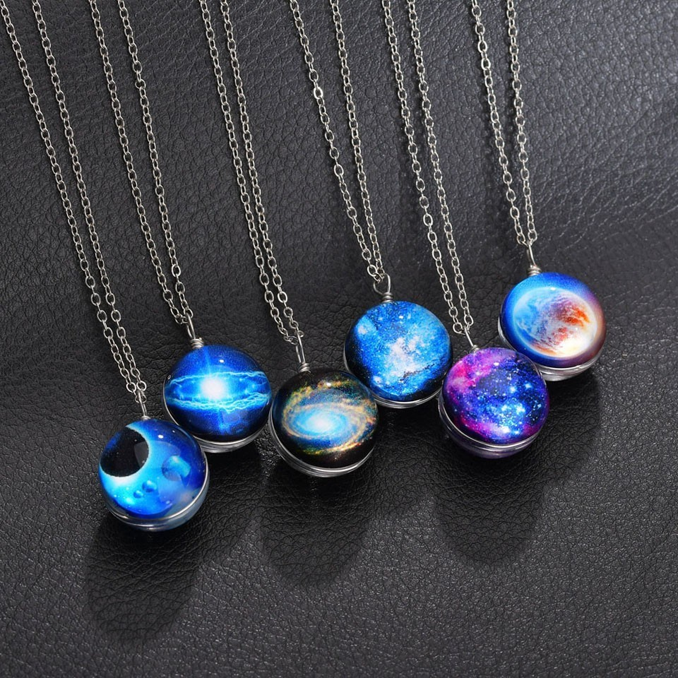 Classic Blue Round Women Custom Universe Necklace Chain Cool Style Good Quality Wonderful Long Decoration Necklace Sliver