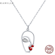 Kamille 925 Sterling Silver Necklace Red Lips Face Pendant Necklaces Hollow Facial Contour Fashion Jewelry Birthday Valentines