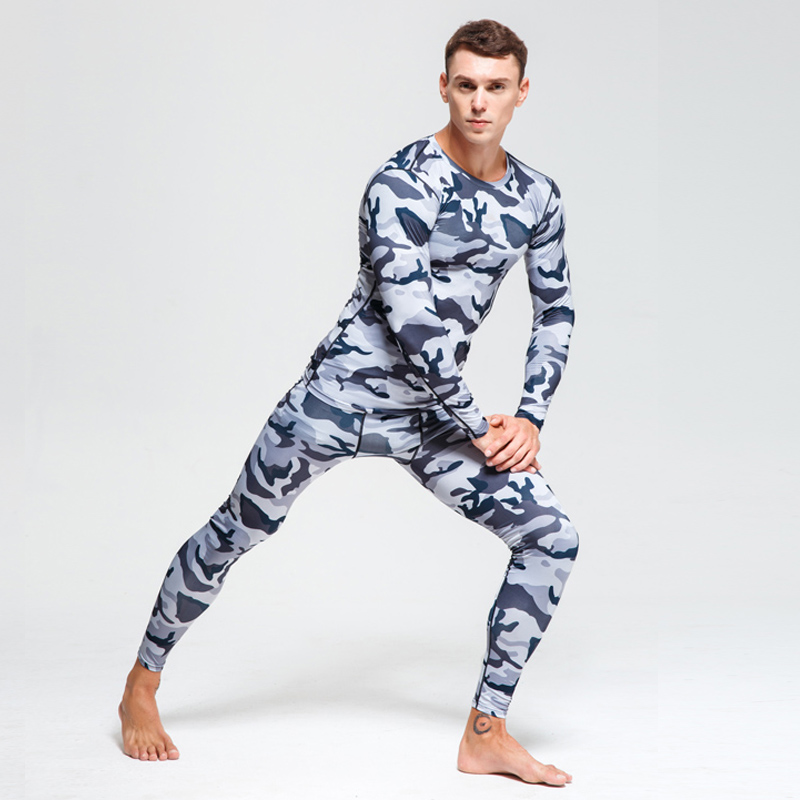 Image 2 - Men Compression sportswear Run Suits Clothes Sports Set Long t shirt And leggings Gym Fitness workout Tights clothing base layer-in Running Sets from Sports & Entertainment on AliExpress