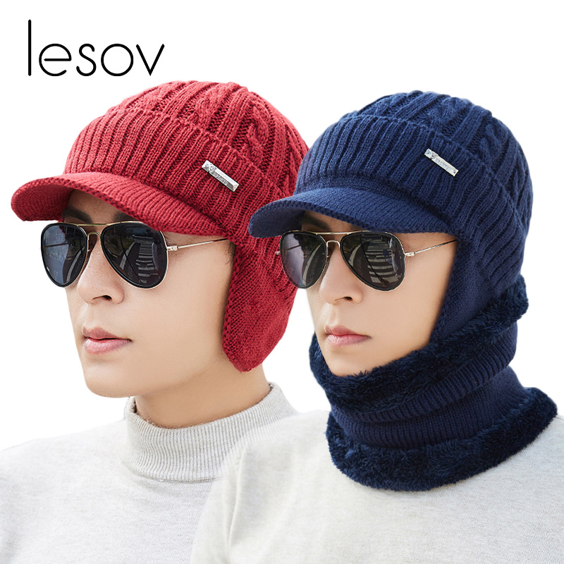 Lesov 2 Pcs/set Ear Flaps Knitted Beanie Hat With Collar Scarf Men Warm Plush Winter Hat Scarves Slouchy Sport Visor Sun Cap New