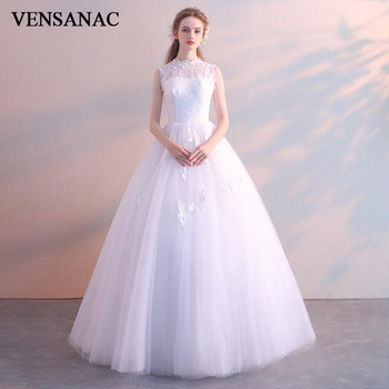 VENSANAC 2019 Illusion O Neck Lace Appliques Ball Gown Wedding Dresses Elegant Crystal Open Back Bridal Gowns