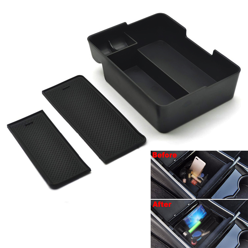 Car Center Console Tray Storage Box With Coin Holder For Tesla Model 3 Left Driving Center Console Storage Tray|Stowing Tidying| |  - title=