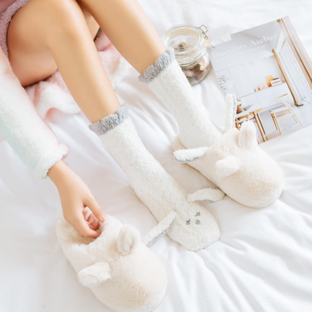 Super Fluffy Soft Thick Warm Cartoon Socks Ladies Women Cute Rabbit Bear Hearts
