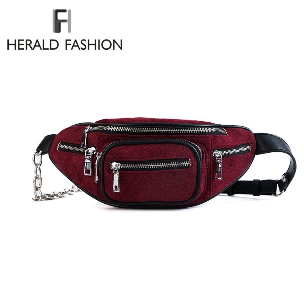Herald Fashion Women Waist Bag Female 2018 Brand Belt Bag Money Phone Retro Fanny Pack Waistbag Scrub Quality Leather Bum Pouch