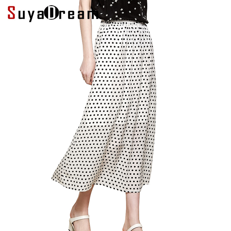 Women Skirt 100 Real Silk Crepe Dots Printed Skirt for Women A Line Long Skirts Mid