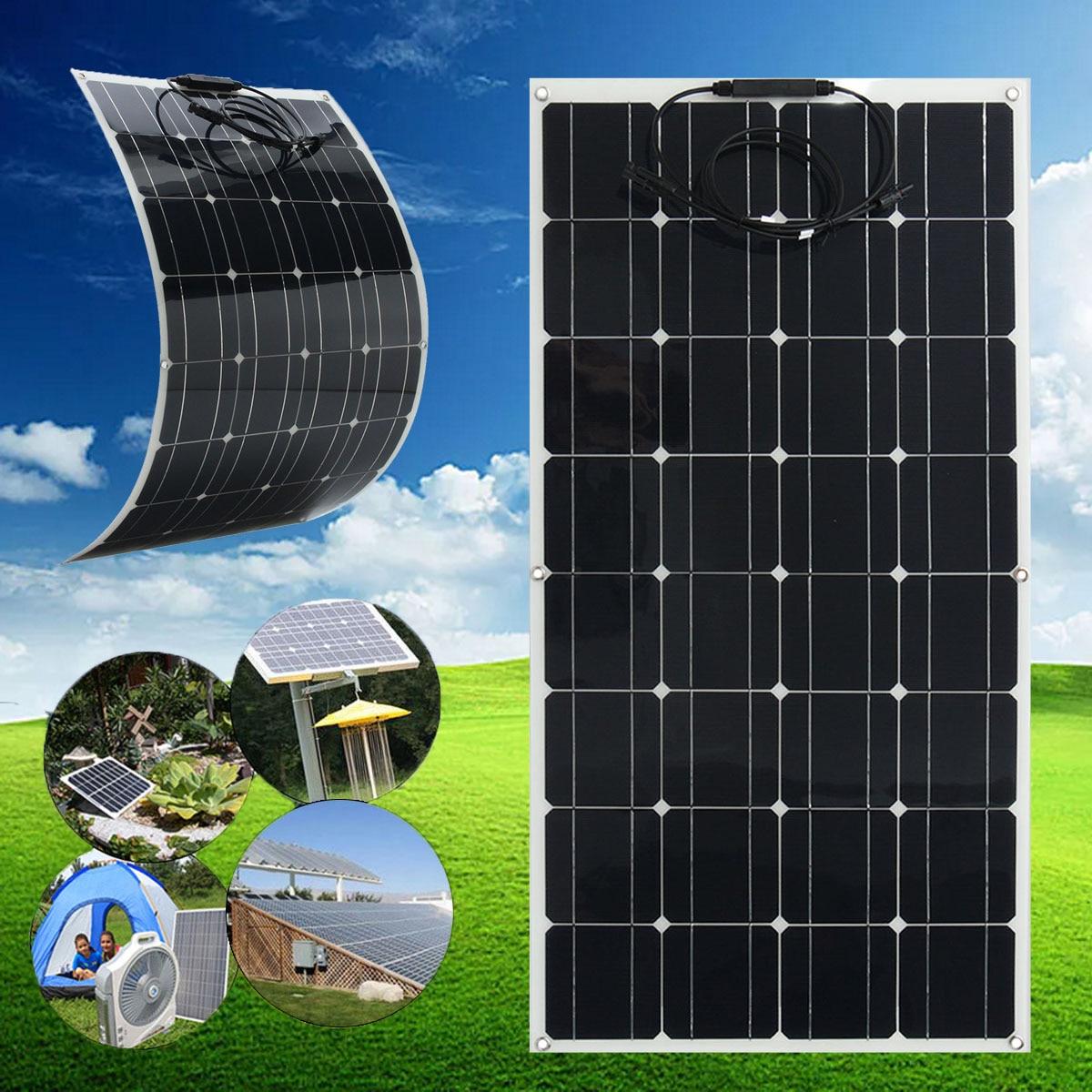 Flexible Solar Panel Plate 12V 100W Solar Charger For Car Battery 12V Phone Battery Monocrystalline Cells 18V 100w 18v flexible monocrystalline silicon solar panel pv quality power 12v battery