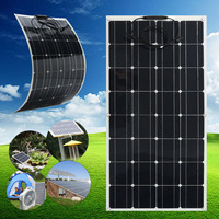 Flexible Solar Panel Plate 12V 100W Solar Charger For Car Battery 12V Phone Battery Monocrystalline Cells 18V