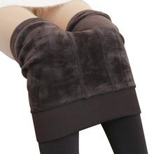 Plus rozmiar 3XL moda zimowe legginsy damskie ciepłe legginsy wysokiej talii grube aksamitne legginsy stałe cały mecz dopasowane legginsy damskie tanie tanio 0088 Kobiety Kostek Wysoka Dzianiny Na co dzień Nylon Tkanina mieszana Poliester Elastan Akrylowe Winter S M L XL Warm F