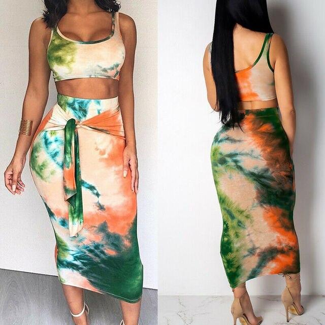 2-Piece Tie Dye Tank Cami & Skirt 2