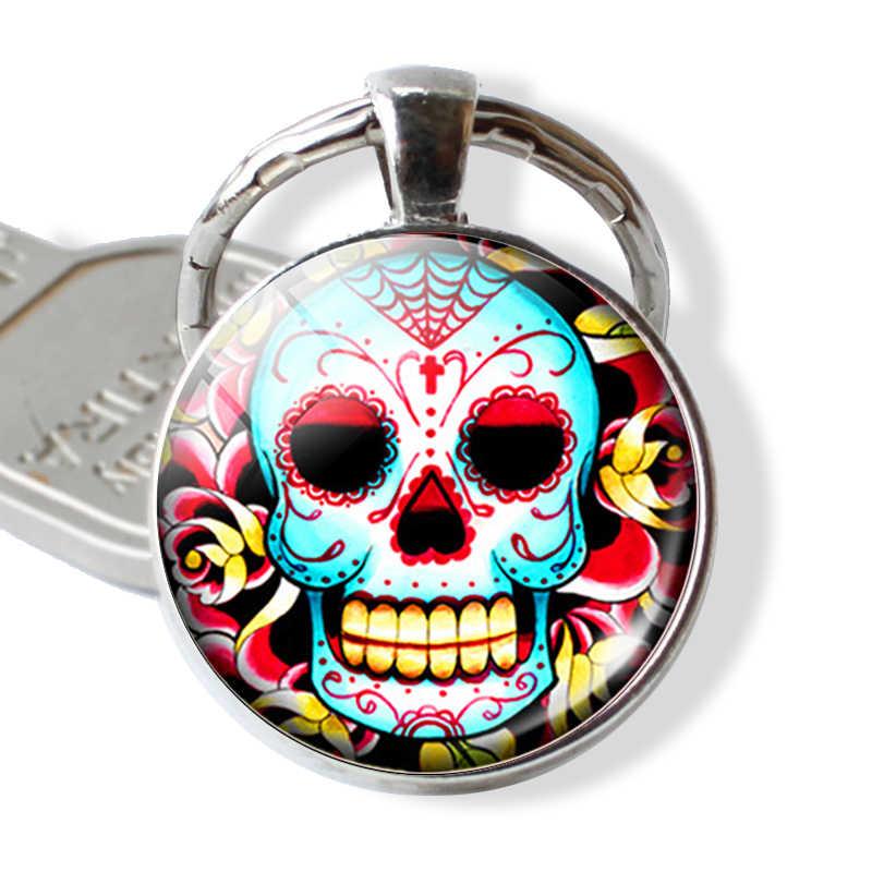 1 PCS กะโหลกศีรษะน้ำตาลวันแห่งความตายพวงกุญแจแก้ว Cabochons DIY Handmade ภาพรอบจี้คีย์ Keychain แหวนเครื่องประดับอุปกรณ์เสริม