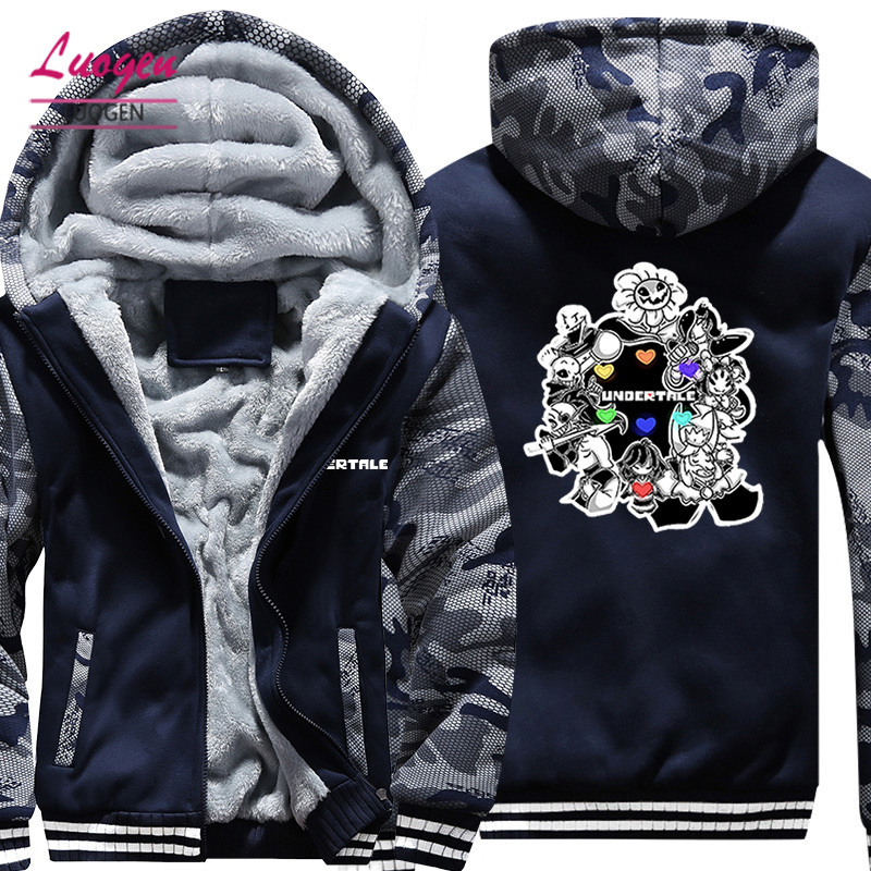 USA SIZE Game Undertale Sans Papyrus Men's Hoodies Sweatshirts Winter Fleece Thicken Hoody Coats Men Casual Camouflage Jackets