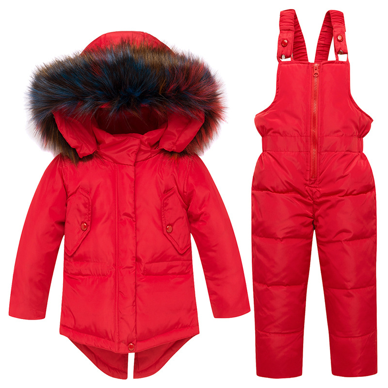 Russia Winter Children's Clothing Sets Girls Clothes for New Year's Eve Solid Color Big Colorful Fur Jackets Coat Down Snow Wear