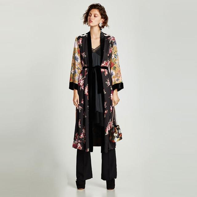 Flower Print Kimono Boho Long Loose Casual Robe with Belt 2