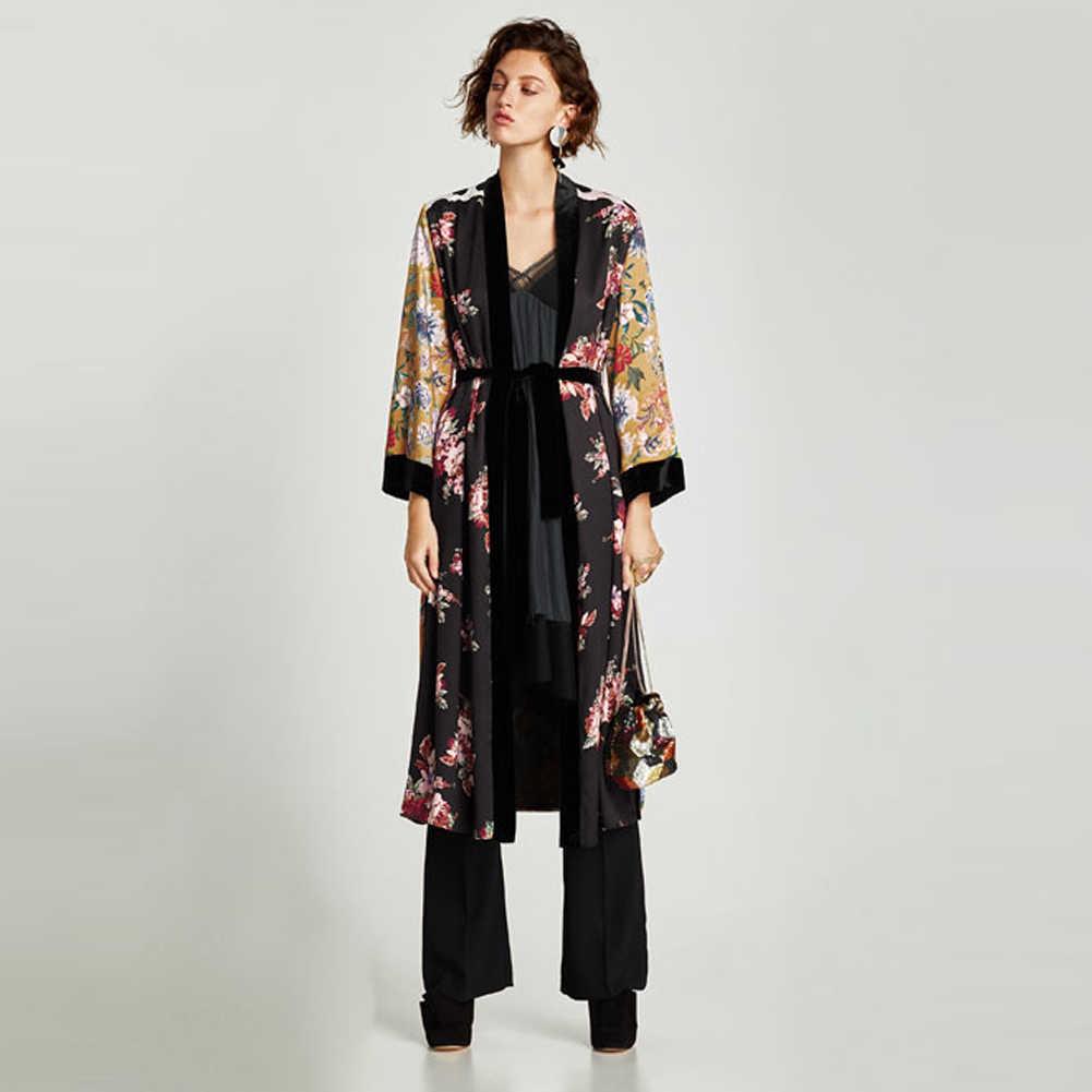 Delle donne Del Fiore di Stampa Kimono Cardigan Camicetta Fasciatura di Estate Holiday Beach Cover Up Boho Lungo Allentato casual Camicette Veste con la Cinghia