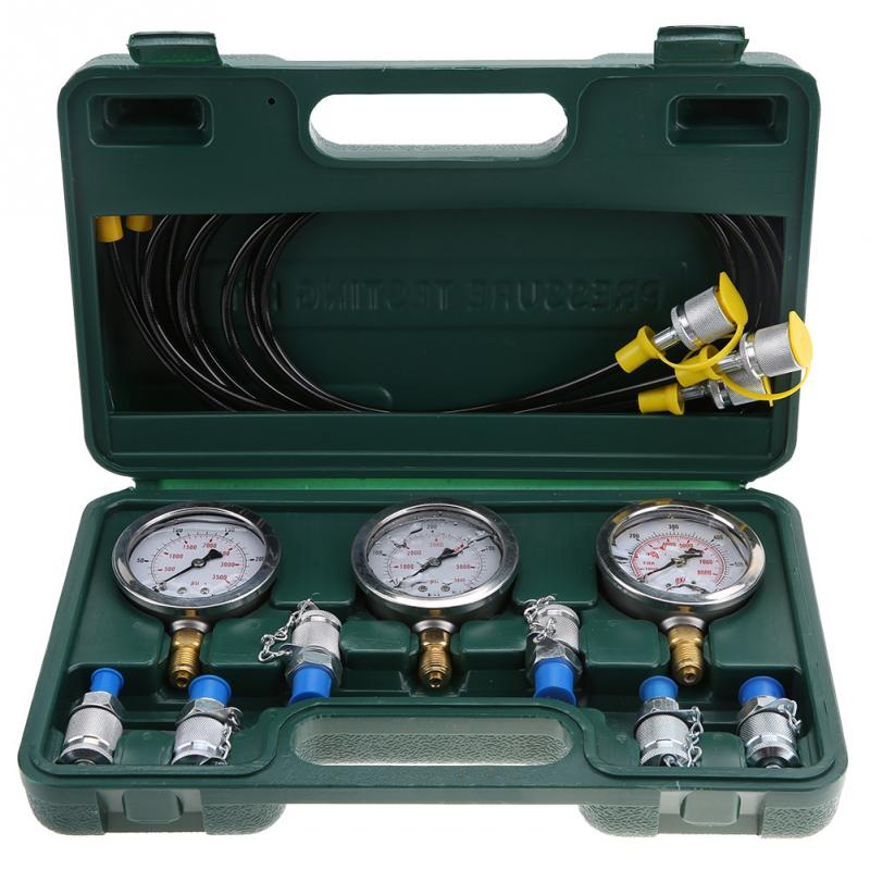 Excavator Hydraulic Pressure Test Kit with Testing Point Coupling and Gauge