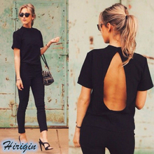 Summer Women T-shirts HOT Casual Black Short Sleeve O-Neck Backless Loose T-shirt Size S-XL