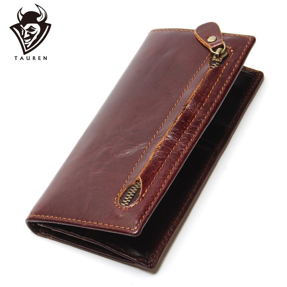 Cartera de cuero genuino de los hombres Recién bifold RFID Billetera bloqueadora para hombres Protección Tarjeta de crédito Zurriago Zipper Monedero largo