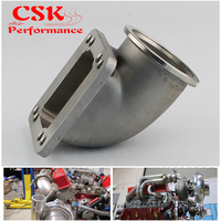 Stainess SS 63mm 2.5 Vband 90 Degree Cast Turbo Elbow Adapter Flange For T3 T4 Turbocharger