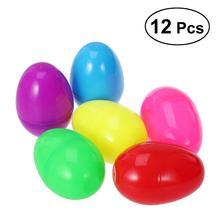 12 шт пластиковые пасхальные яйца DIY украшения для поиск Пасхальных Яиц Подарок для игры пасхальное писака пасхальное вечерние сувениры 6 см(ассорти Цвет