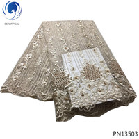 BEAUTIFICAL india lace fabric net lace fabric pearl designer lace fabric with lots beads for wedding dresses decoration PN135