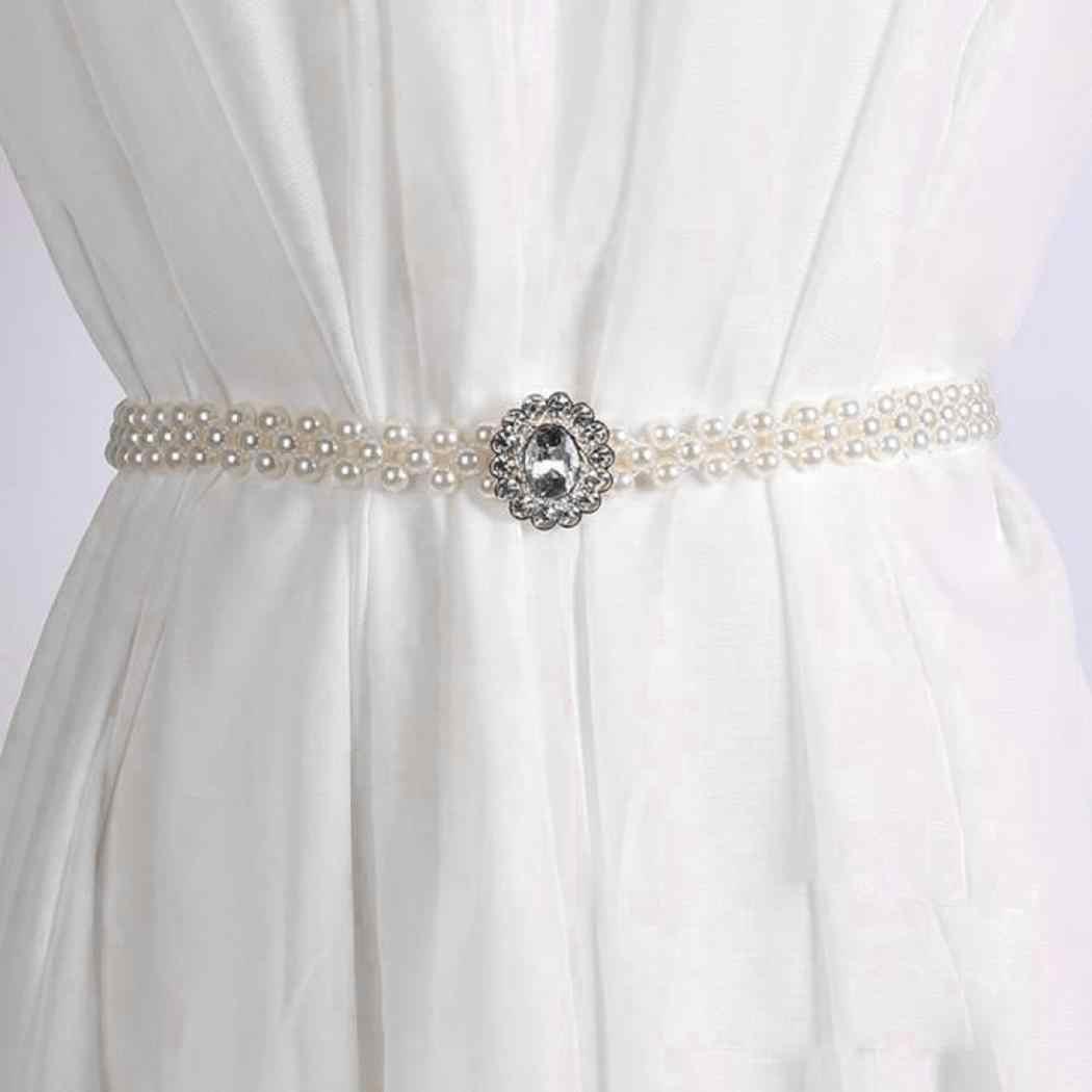 新ファッション女性ガールズ弾性人工宝石 2 センチメートル/0.8 インチ真珠 65 センチメートル/25.6 インチの装飾白ウエストベルト