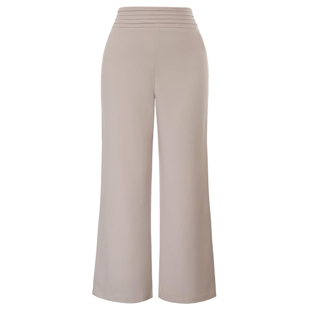 GK Apricot/Black Women's business   pants   ladies office work wear party Solid Color Pleated Waist Wide Leg   Capri   Cropped   Pants