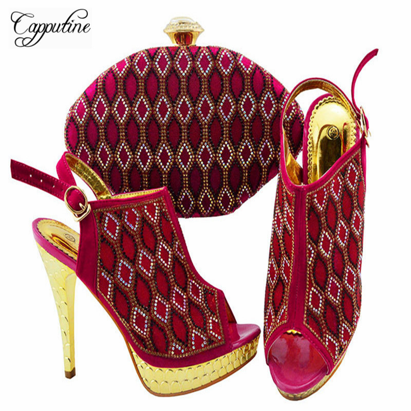 Capputine Nigerian Decorated With Rhinestone Women Shoes And Bag To Match For Parties Summer High Heels Shoes With Purse Bag
