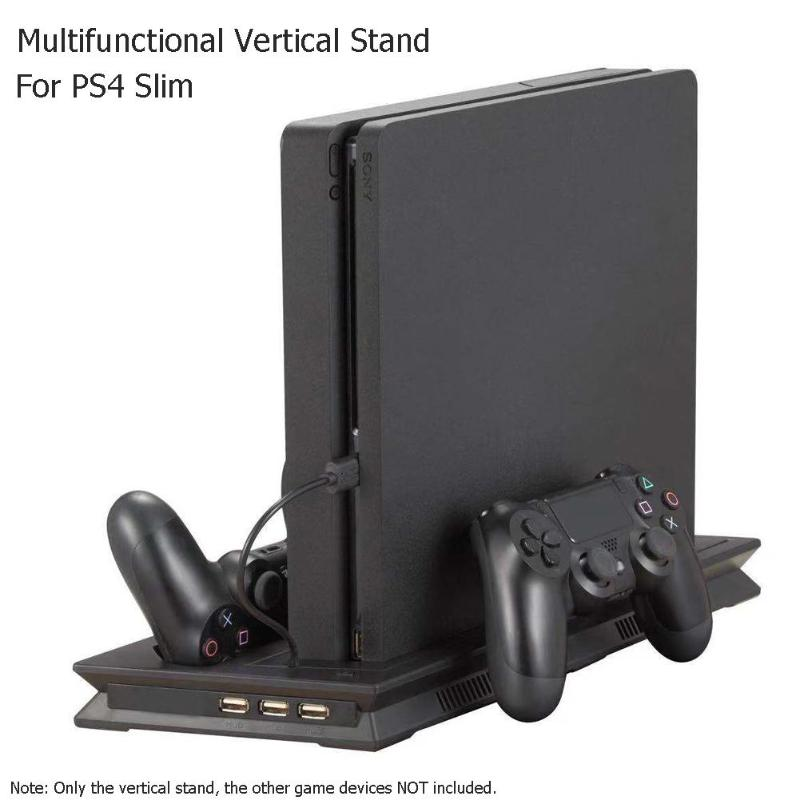 PS4 Slim Stand Controller Charger Charging Station Jelly Comb PlayStation 4Vertical Dual Charging Dock with Cooling Fan