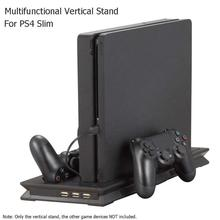 Vertical Stand Dock Mount Game Console Support Base Holder+ Dual Charging Ports for PS4 Slim with Dual Cooling Fan Drop Shipping