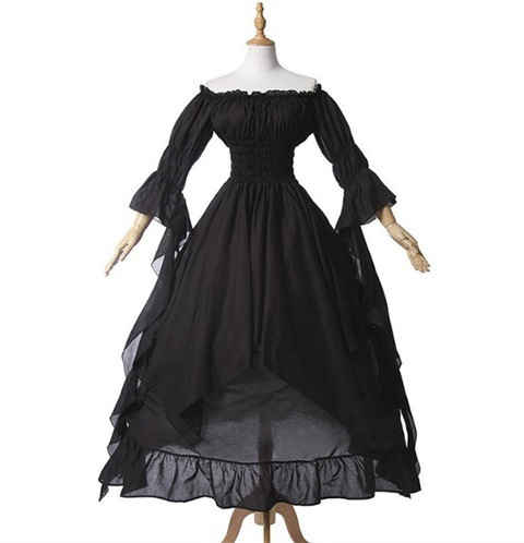 Fashion Loose Women Gothic Dress Female Princess Flare Sleeve Pullover Long Dress Elegant Off Shoulder Party Plus Size Dresses 2