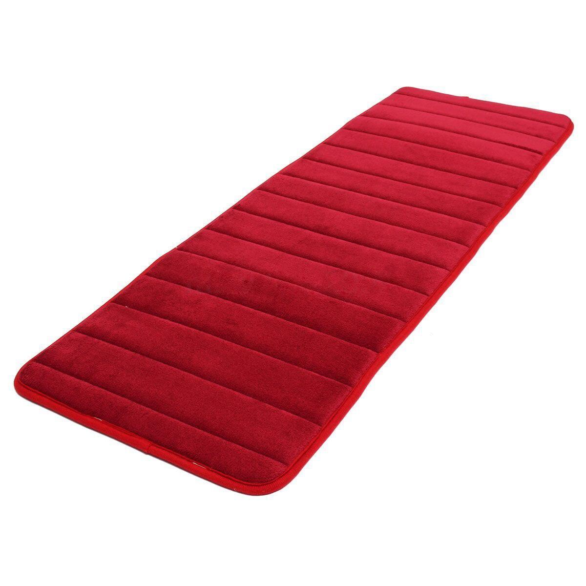 120x40cm Absorbent Nonslip Memory Foam Kitchen Bedroom Door Floor Mat Rug Carpet Date-red