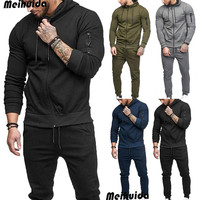 Men's Tracksuit Set Long Sleeve Zipper Hoodies Sweatshirt & Bottoms Jogging Trousers Sweatpant Gym S XXL Black Grey Sports Suit