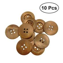 10Pcs 4 Holes 50MM Wooden Buttons Environmental Round Shape Small Fresh Solid Printing Wide Side DIY Press Studs Snaps Buttons(China)